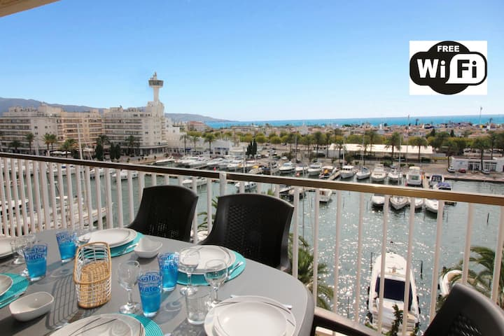 0160-PORT GREC Apartment with WIFI, Smart TV, canal and sea view