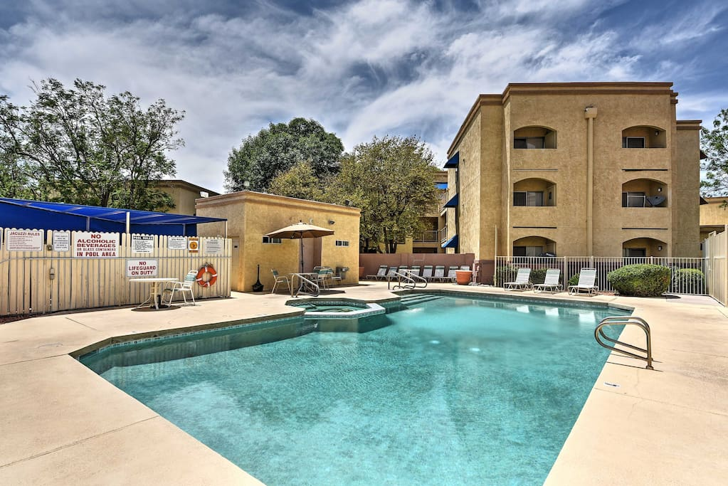 Enjoy the large community pool throughout your stay.