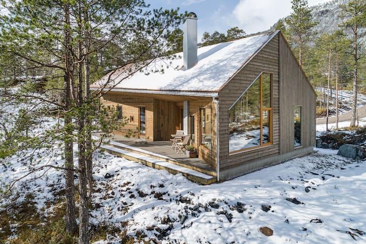 Arkitektteikna hytte langs nasjonal turistveg