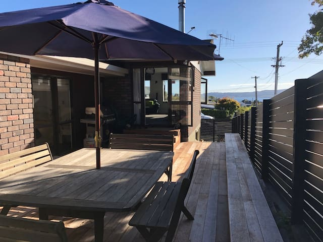 Deck with table and bbq