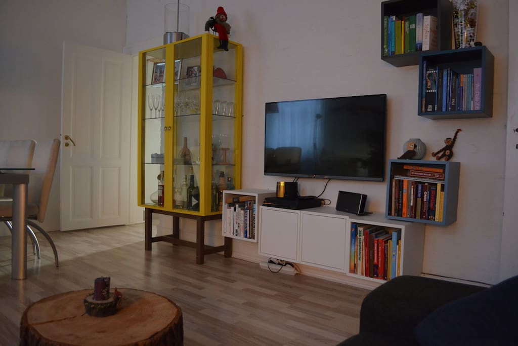 Living room with big TV screen