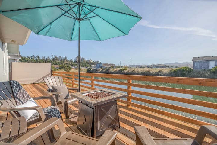 Dreamy, Updated Charmer has Large, Fenced Yard, Waterfront Deck Along Waldport Slough, Beach Club Access!