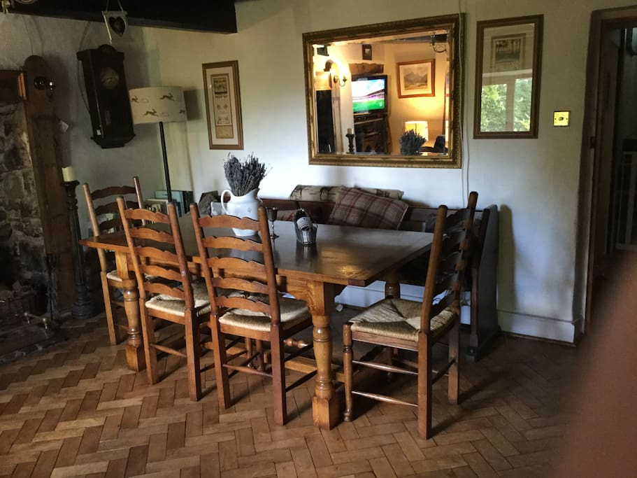 Dining room with television