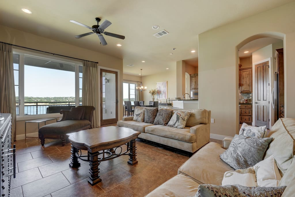 Take in gorgeous views of Lake Travis from the living room.
