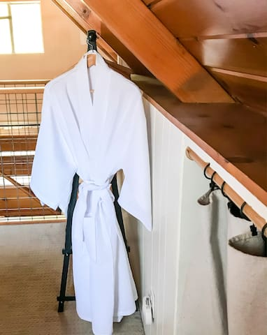 Luxury robes for all guests of the Cabin