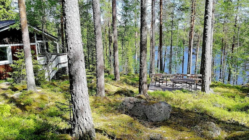 Silent, private cottage by lake,  sauna and boat