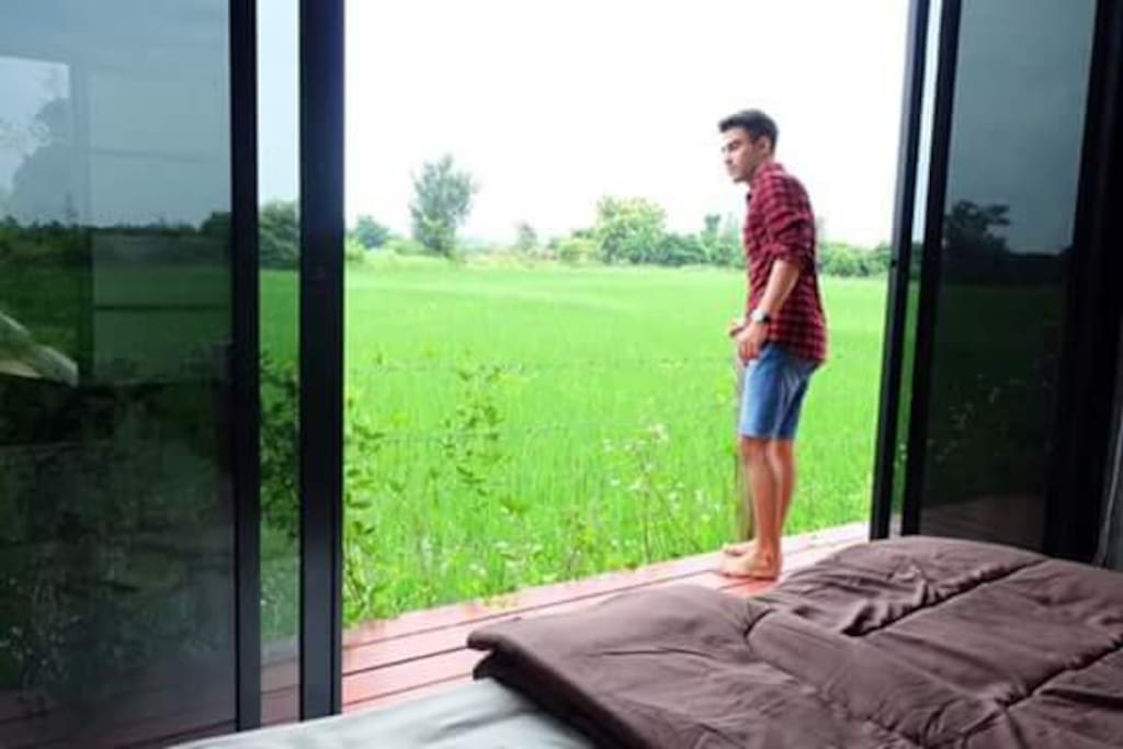 Bed room beside rice field