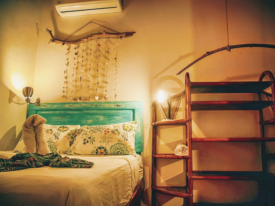 A comfortable bed awaits you with reading lights on either side. If Samara gets too hot you can flip on the delicious air conditioning and cool right down
