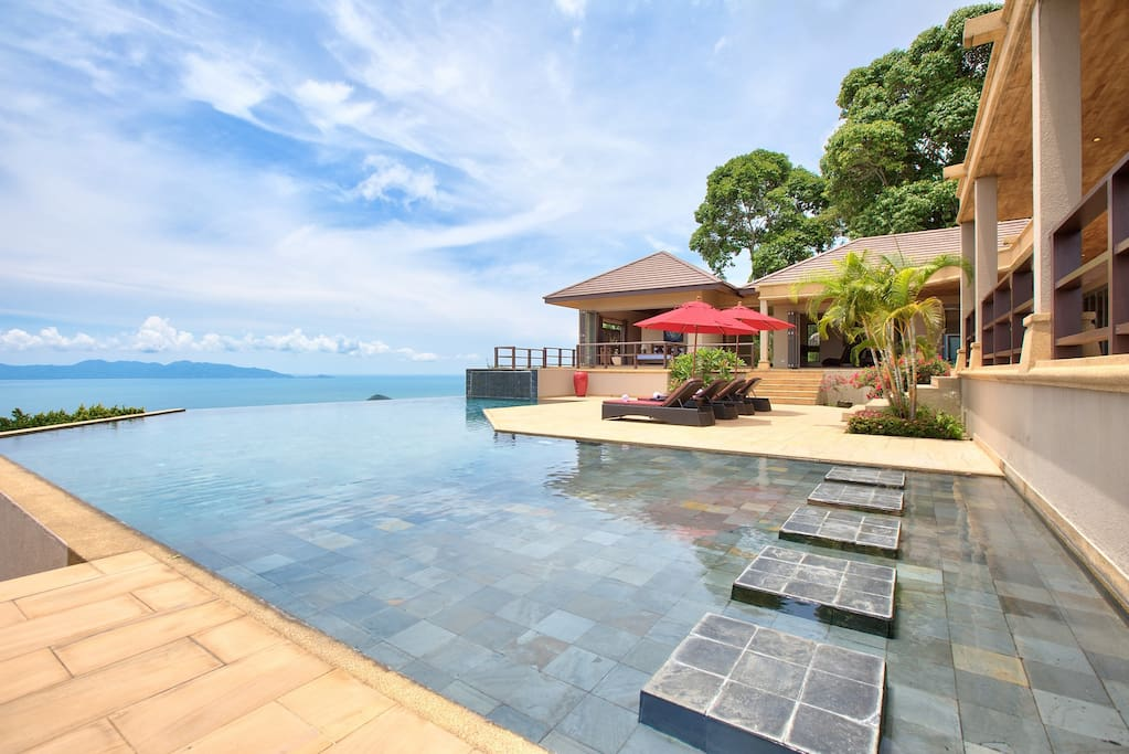 Fantastic 270° sea views from the large private pool deck.
