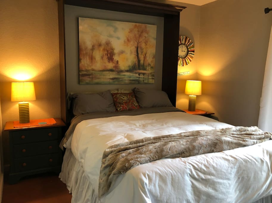 Comfy queen bed for a good nights sleep.  Luxury bedding and choice of pillow type (down or down alternative).