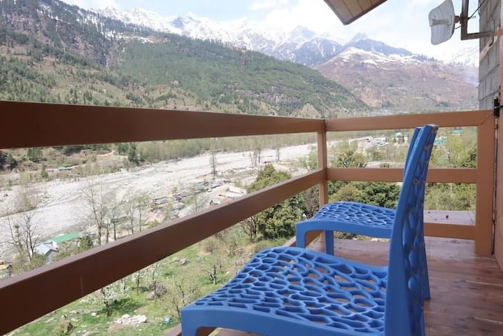 River and Mountain Facing Balcony from Family Suite