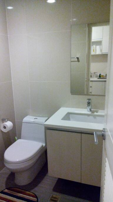 luxurious toilet and bath just like home and hotel