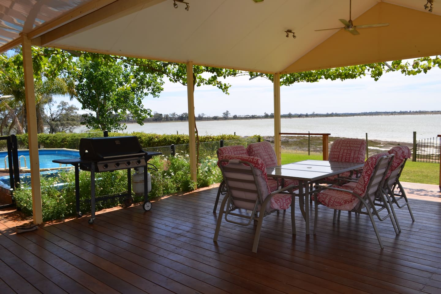 BBQ Patio area with pool overlooking Lake Hawthorn