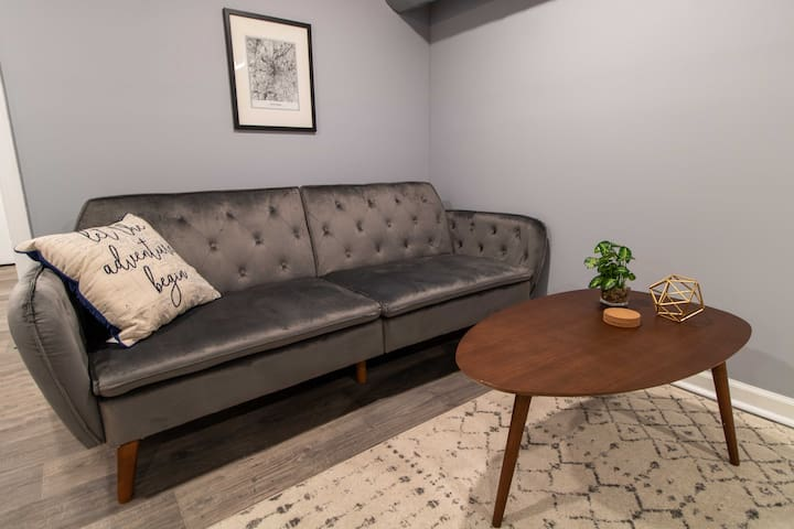 Couch folds into double-sized futon (sheets included).