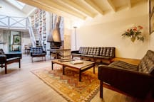 Sofa, armchairs & fire place area