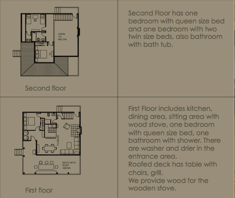 Layout of the house. There is a bedroom and a bathroom on the first floor and two bedrooms and a bathroom on the second floor.