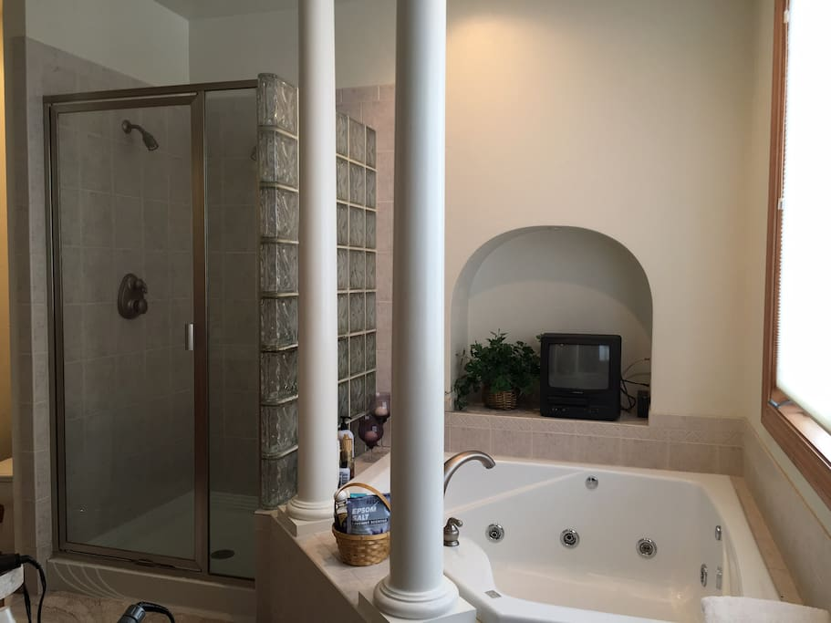 Large Master bath with Jacuzzi Tub & Shower. Double Sinks.
