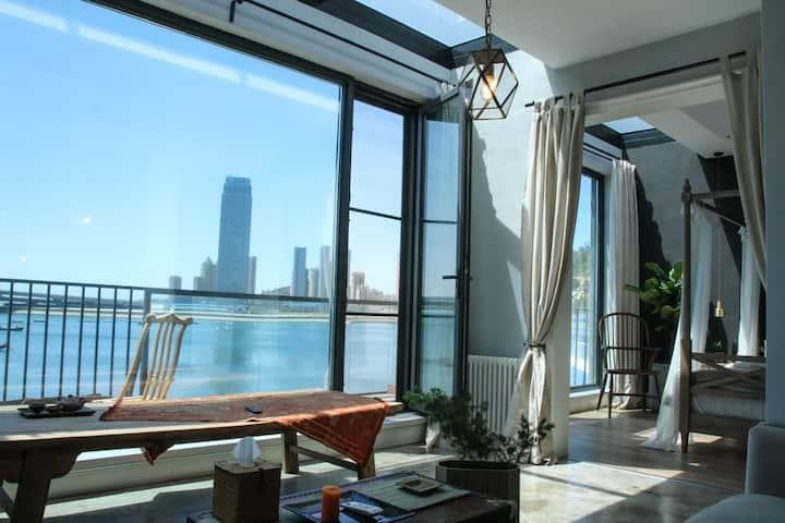 野海美宿401全海景大露台豪华套房带厨房餐厅距海12米