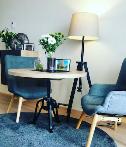 Comfy seating and dining area for 2 people
