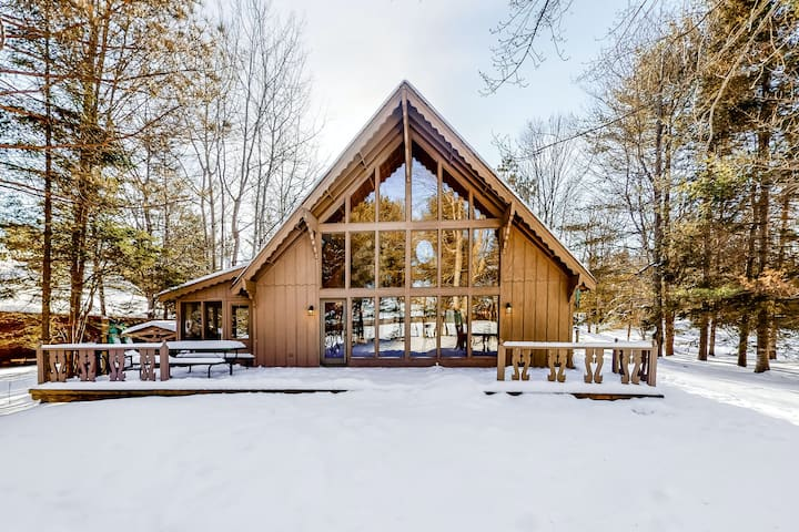 Lakefront A-Frame on Muskellunge Lake w/ Private Dock, Rowboat, Lake View, WiFi
