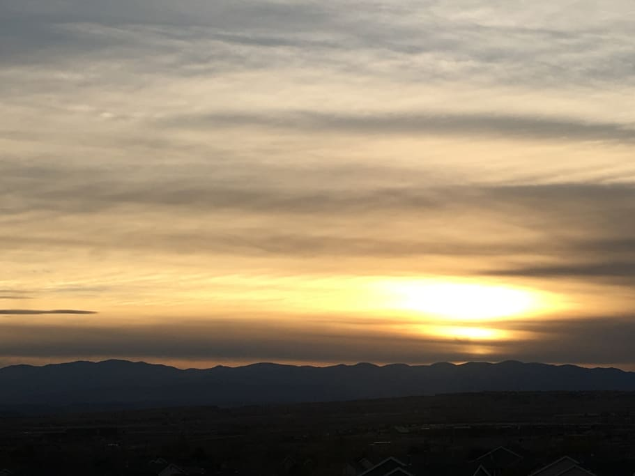 View of Mountains and Sunset