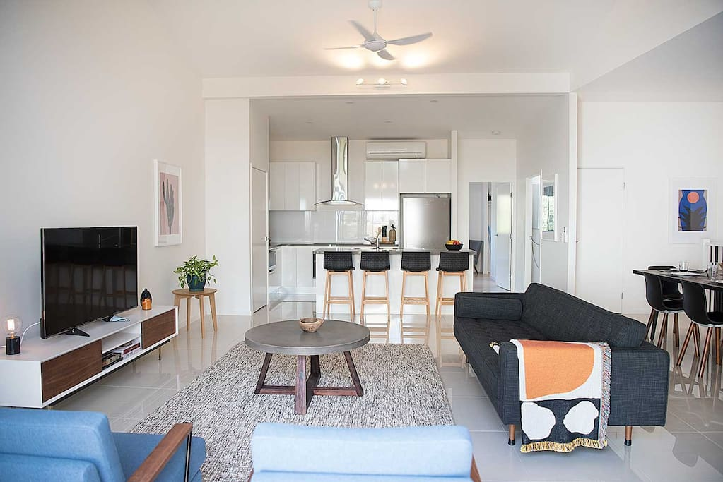 Banksia's light and breezy living area.