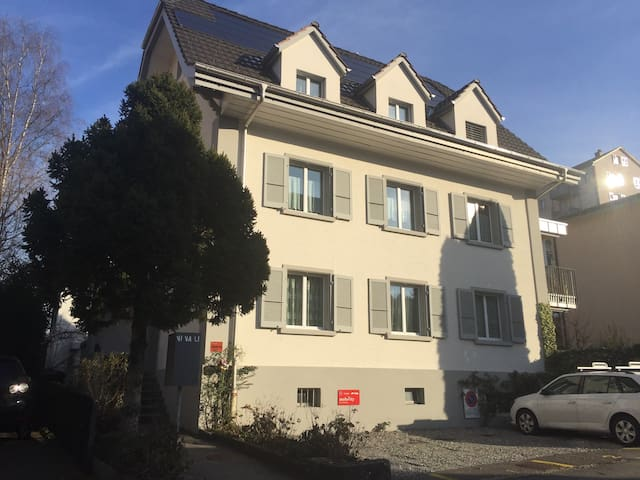It is our house and BnB is on the first floor. A parking is just out to the house (Chf 15.- per night, Duration is as same as checkin &out time)