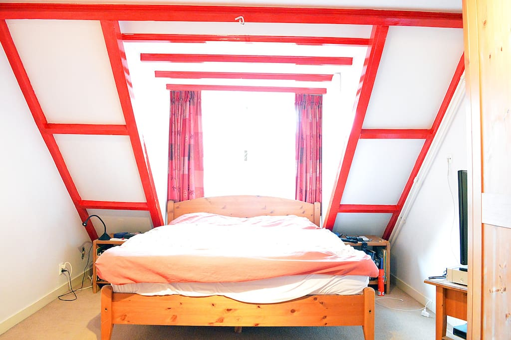 The bright master bed room