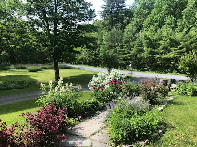 View from front porch of quiet country road yet so close to beautiful Rhinebeck Village