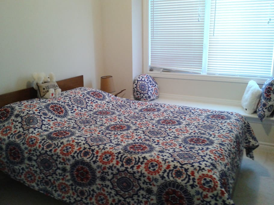 Double Bed ~ guest room with window seat