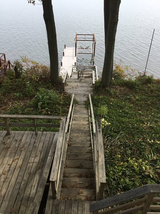 Deck to water, permanent dock and boat lift