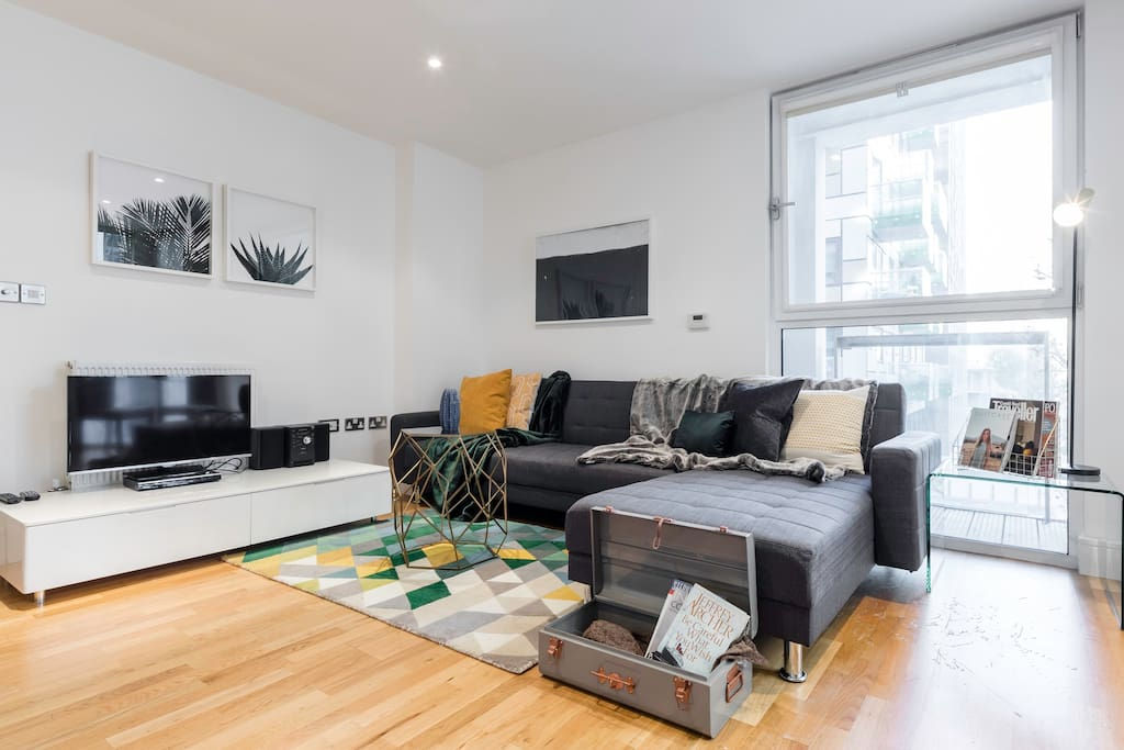 The open-plan living area