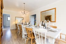 18' Dining Room. Intimate lighting with lamps, candles and dimmable candelabra lights.