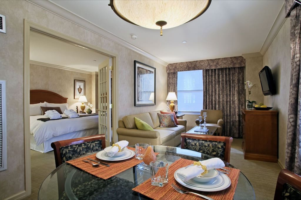 Suite style accommodations, classically styled and perfect for small families.