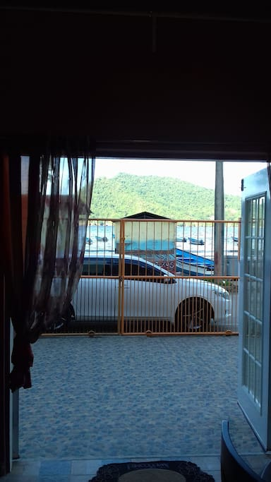 VIEW OF BEACH FROM INSIDE SUITE