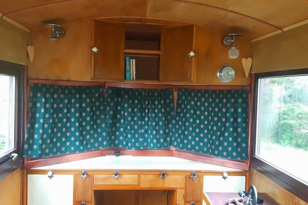 The front of the caravan with space to work.