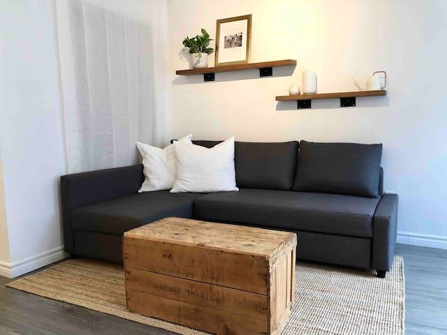 Salon confortable avec canapé qui se transforme en lit queen