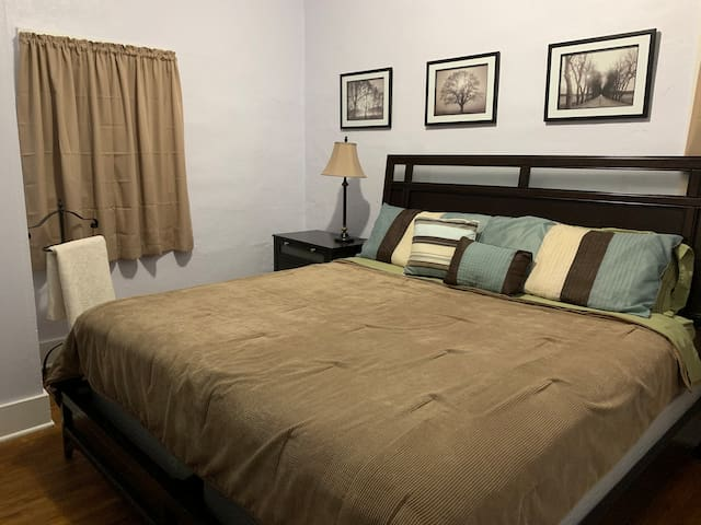 King size bedroom view from door way