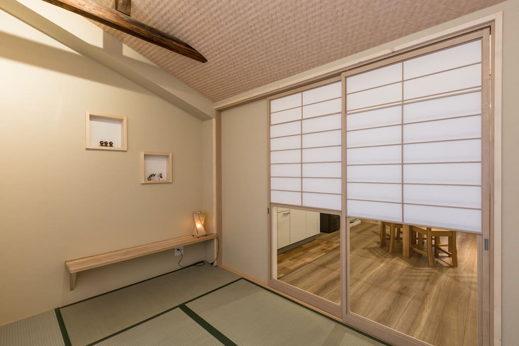 The sliding doors to the bedroom are fully adjustable so you can have as much or as little privacy as you like.
