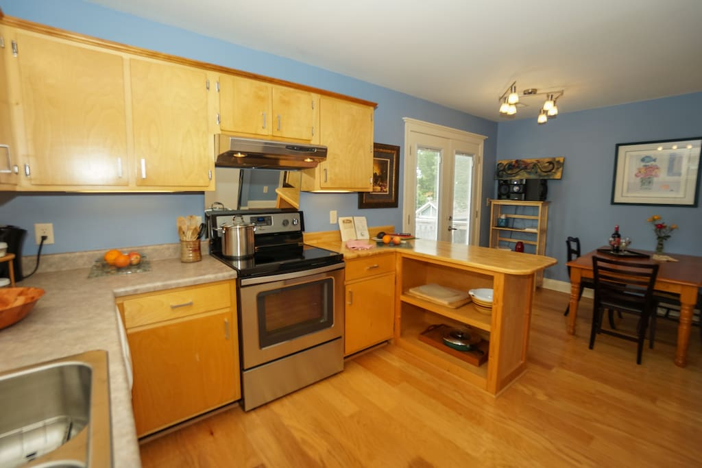 Kitchen showing Dining Area in background