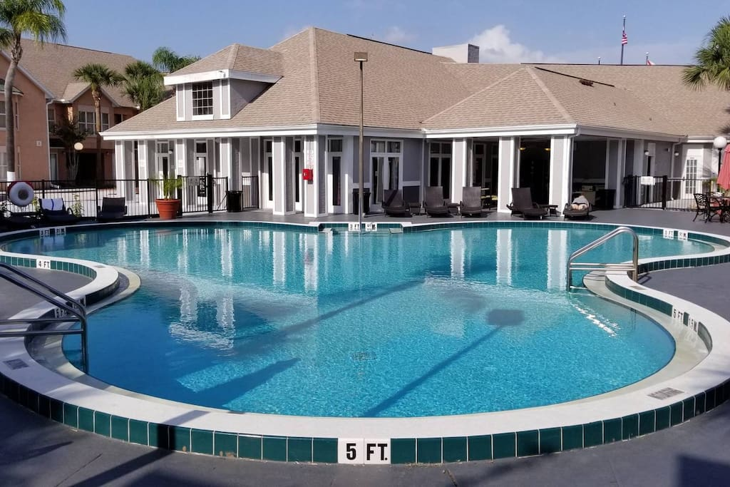 """Just steps from your front door you'll be in our refreshing """"Famous Mouse"""" themed pool with extended pool hours."""