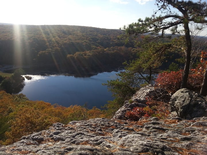 The view over Lantern Hill Pond in Fall