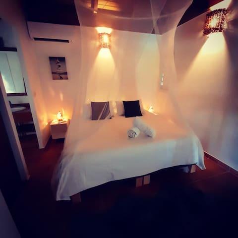 Chambre  2 en rdc avec 2 lits séparés ou possibilité d'un lit 180/190 cm avec un surmatelas pour plus de confort , climatisation