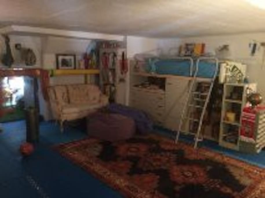 1 of 2 lofted beds in kids room