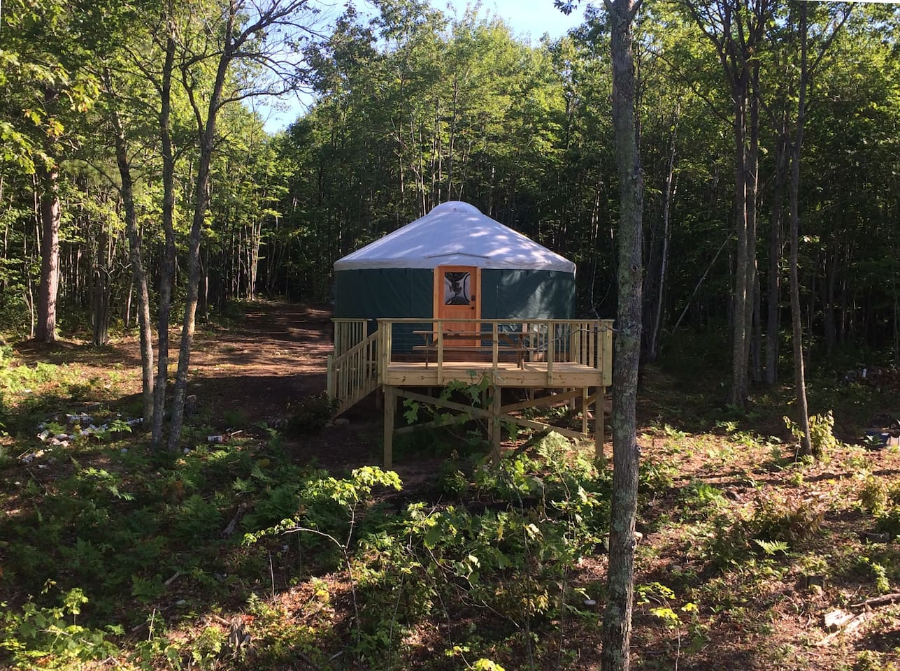Front view of the yurt, from a distance.