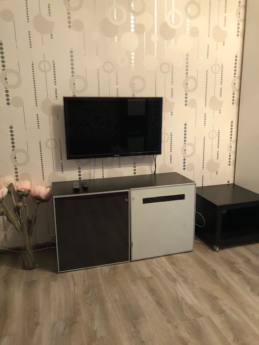 TV area in a large room. All channels available.