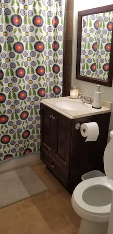 Guest has access to a bathroom right across the hall. We do not use the bathroom while you are staying with us.