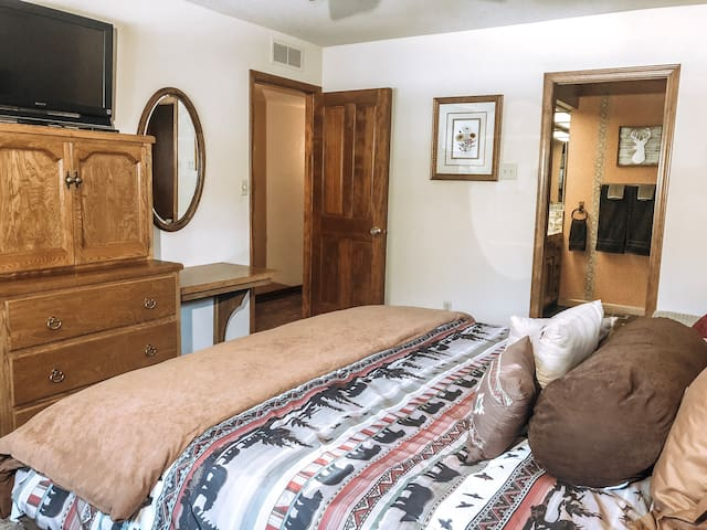 Master Bedroom with large walk in closet, built in dresser, vanity/desk, flatscreen TV and electrical strips attached to each nightstand for conveniently charging your phone etc.