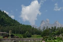 Meadows and Dolomites from terrace