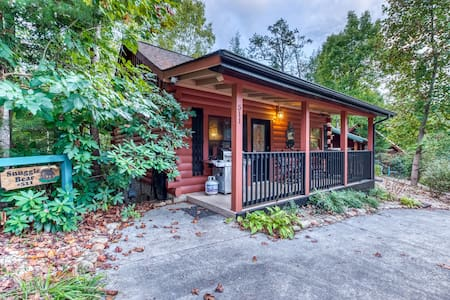 Elegant, dog-friendly cabin w/ gas fireplace, private hot tub, & community pool